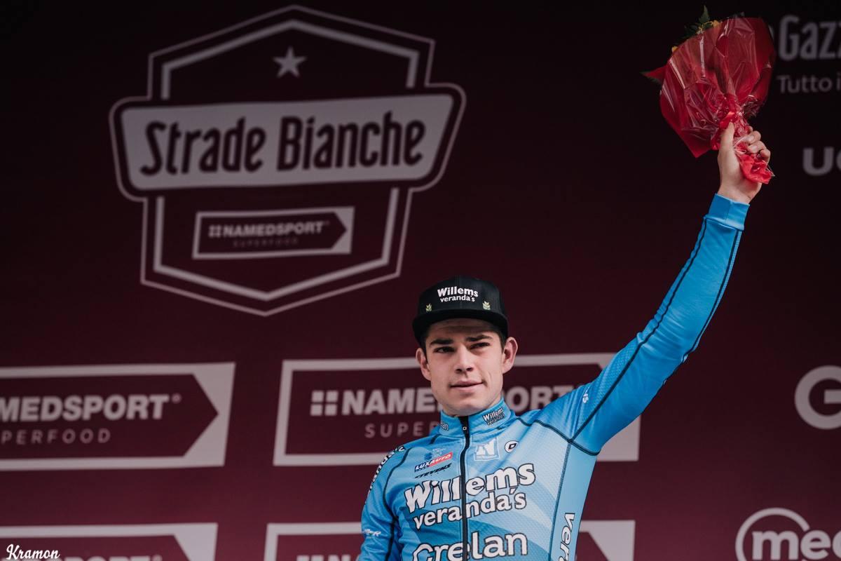 Wout Van Aert derde in mytische Strade Bianche